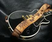"Handmade Leather Guitar Strap. ""Astro Circus""."
