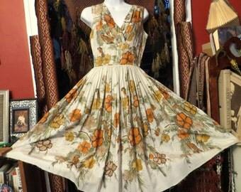 SALE  50s Jackie Morgan Glitter Floral/BirdPrint Shelf Bust Dress