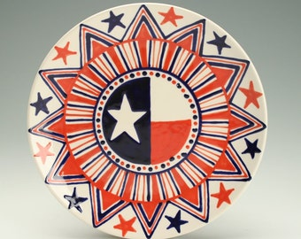 Red White and Blue Americana Rim Plate Hand Painted 7-3/4""