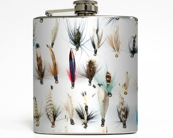 Fly Fishing Lure Whiskey Flask Outdoors Fish Bait Dad Groomsmen Best Man Guys Birthday Gift Stainless Steel 6 oz Liquor Hip Flask LC-1574