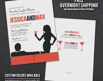 Mad Men Invitation - Couples Shower or Engagement Party - Free Overnight Shipping