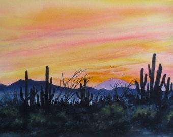 Desert Sunset, Watercolor, Giclée Print, Southwest, Cactus, Sky, Silhouette