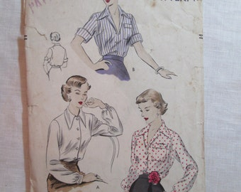 "Antique 1950's Vogue Pattern #6756 - size 30"" Bust"