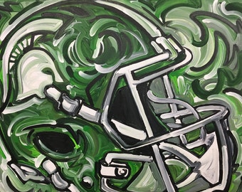 24x30 Officially Licensed Product Michigan State University Painting Justin Patten Sports Art College Football Basketball Sparty CLN#7833
