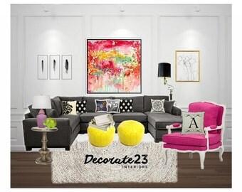 Eclectic Living Room Interior Design, E-Interior Design, Online Interior Design, Home Decor, Mood Board, DIY Interior Design