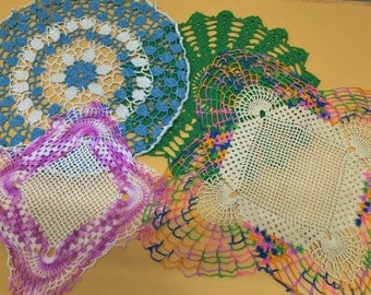 Mid-century Doily Lot of 4 Pink Blue Green Lavender