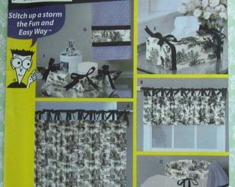 Easy to Sew Bathroom Accessories~Tied Tab Shower Curtain and Valance~Hamper Liner~Hand Towel Band~Tissue Box Cover Simplicity Pattern 5750