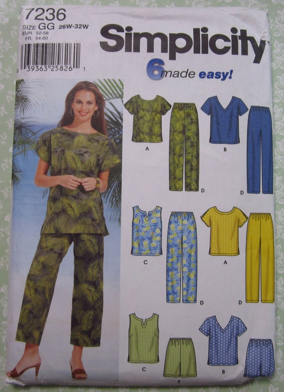 Easy to Sew Womens Tops and Pants or Shorts Sizes 18W 20W 22W 24W UNCUT Simplicity Pattern 7236