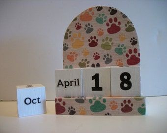 Dog Paws Calendar Perpetual Block Calendar Wood Dog Paws Pattern