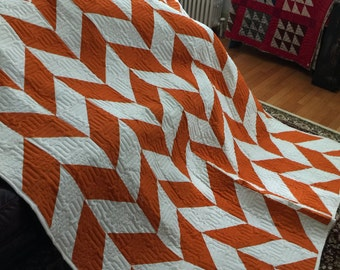 Quilt Autumn Herringbone Pumpkin and Cream Twin Made to Order
