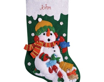 """Snowman with birds 16"""" Christmas Stocking,  PERSONALIZED"""