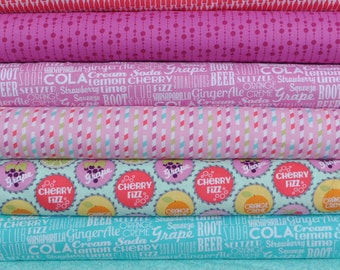 Sodalicious Diet Mist 7 Fat Quarters Bundle by Emily Herrick for Michael Miller, 1 3/4 yards total