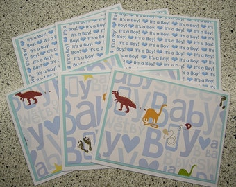 It's A Boy! - Baby Boy Notecards - Blank, Set of 6 - Thank You, Invitations, Notes
