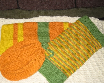 Thanksgiving Pumpkin Hand Towel and Washcloth/Dishcloth Set