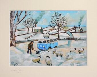 VW camper van stuck in the snow signed mounted print Gordon Bruce new art