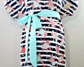 Bradleigh Maternity Hospital Gown - Black White Stripe and Flowers  - Lined or Unlined - Add a Robe- by Mommy Moxie on Etsy