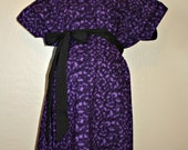 LINED Medium Maternity Hospital Delivery Gown - Black Swirls on Purple - Ready to Ship-One of a Kind - by Mommy Moxie on Etsy