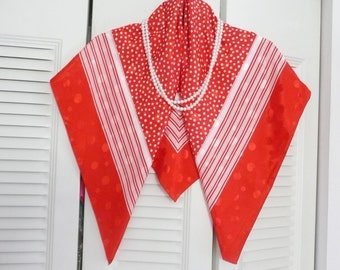 "Large ""Mademoiselle"" Red and White Polyester Polka Dot Scarf - Red and White Striped Scarf"