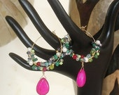 READY FOR SPRING Sale: Ashira Gold Filled Hand Wired Hoop Earrings Fuchsia Briolette Cluster of Emerald Fresh Water Pearls Apatite Lemon Qua