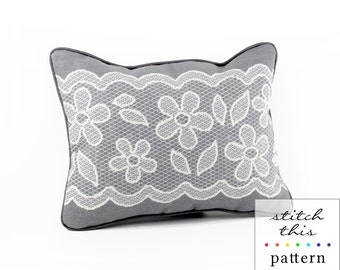 gray and white lace needlepoint pattern - diy - contemporary - modern - pdf - instant download
