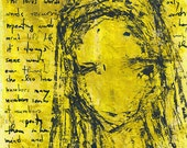 Yellow female portrait, original acrylic painting on paper 21x28cm / 8x11in. Neuroesthetics
