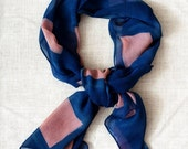 ON SALE Itajime Shibori Brazilwood + Indigo Silk Chiffon Scarf - Blocks
