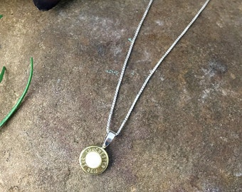 Bullet Necklace / Brass Pearl Sterling Silver Necklace ANY-#-B-BPN / Pearl Necklace / Bullet Pearl Necklace / Sterling Necklace / Bullet