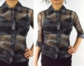 Jade Reserved --- 1990's FLORAL SHEER Black Grey SHIRT Oxford Shirt Button Down Mesh Blouse