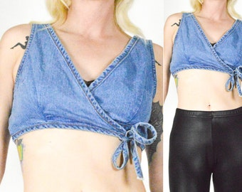 90's DENIM CROP TOP. Wraparound/V Neck.  90's Grunge Mod Rocker Boho