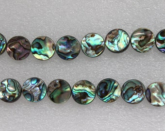 Full Strand Beautiful Natural Abalone Shell Coin Beads Double Sided 14mm