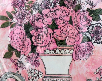 Mother's Day gift wrap by American Greetings 1960's new in package present wrapping NIB carnations roses bouquet scrolls pink white urn NIP