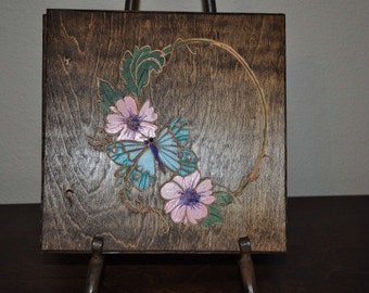 Hand Carved Wood Pink flowers Blue Butterfly Scrapbook Photo Album Writing Journal