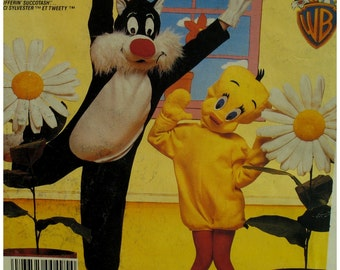 Adult Tweety Sylvester Costumes Pattern, Heads, Jumpsuits, Masks, Feet, Warner Brothers, McCalls 943 2745 UNCUT Size Medium Chest 36-38""