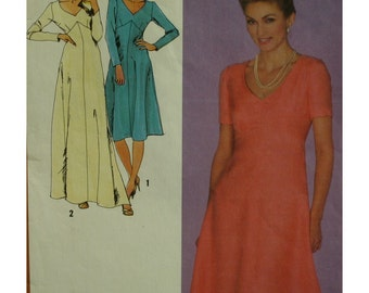 "Plus Size Dress Pattern, 80s, V-Neck, Shaped Bodice, A-line Skirt, Short/Long Sleeves, Simplicity No. 9478 Size 18 20 Bust 44-46"" 112-117cm"