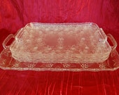 Set of 4 Vintage Regaline Serving Trays Clear Plastic Faux Cut Glass Look One Large and Three Small
