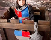 Knight of the Round Table Child's costume PDF Crochet Pattern  dress up kit  with Tabard, Helm Coif and Bracers