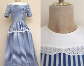40% OFF 1940's Blue & White Stripe Vintage Fit and Flare Dress by Maeberry Vintage Size XS