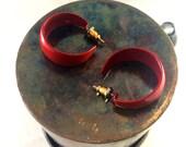 Dark red wide hoop earrings