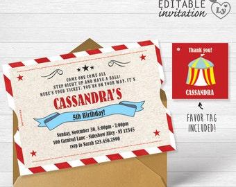 Circus INSTANT DOWNLOAD Editable Invitation /  Carnival Invitation  / Circus Party / Carnival Invitation Printable / Circus Birthday