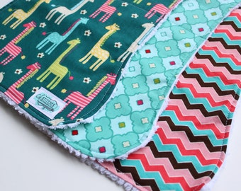 Baby Burp Cloths - Set of Three Chenille Burp Rags - Giraffe Burp Cloth Set - New Baby Gift - Handmade Boutique Burp Cloth - Zoo Baby Gift