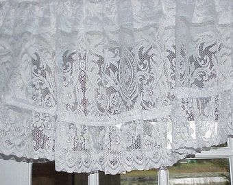 Free Shipping..Large Vintage Cottage White Floral Lace Valance 86 inches Wide with Ruffle