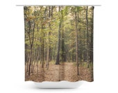 Art Shower Curtain In the Woods 1 Modern Photography Bathroom restroom home decor forest green trees woods mother nature brown branches