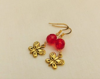 Red Crystal Bead with a Gold Plated Butterfly Charm Earrings, Pierced Ears, Jewellery, Accessories, Gift, Birthday, Christmas, Anniversary