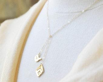 Tiny Bird Leaf Lariat Necklace/ Bird Necklace/ Leaf Necklace/ Gold Necklace/ Gold Lariat/ Tiny Charm Necklace/ Dainty Necklace/Cute Necklace
