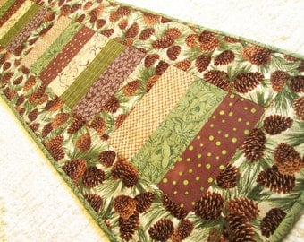 Quilted Winter Christmas Pine Cone Extra Long Table Runner