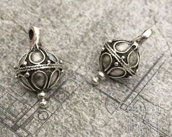 Old World Ball Dangle Charm Pendant Bead - Antique Oxidized Silver Pewter - 20mm x 12mm - 2 pcs - Greek Casting - Central Coast Charms