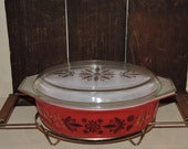 Reserved Listing for Carolina.. Better Known As Golden Poinsettia ... Red Casserole, Clear Glass Lid and Brass Cradle