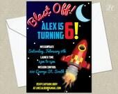 Space Birthday Party Invitation - Retro Space Party Invitation - Rocket Ship Birthday Invitation
