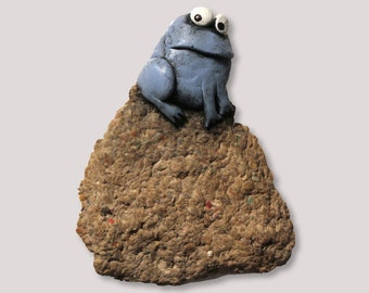 Frog On a Rock, wall hanging sculpture
