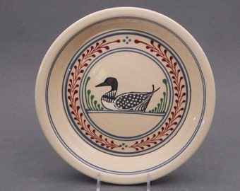 "Stoneware  Pie Plate -Loon Pattern with Red and Green accents 9.25"" diameter"